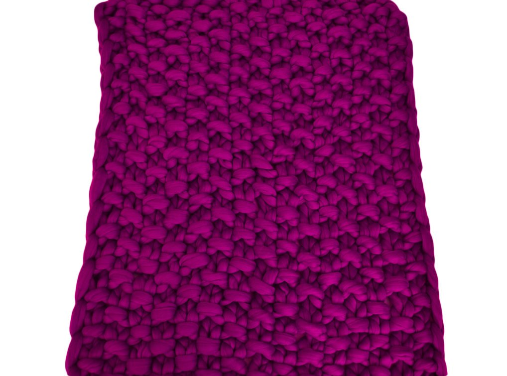 Merino wool knitted blanket