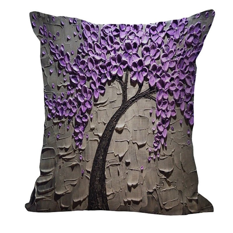 Cushion Cover Cushion Cover Vintage Flower Pillow Case Mural Yellow Red Tree Wintersweet Cherry Blossom Home Decorative Throw Pillow Cover