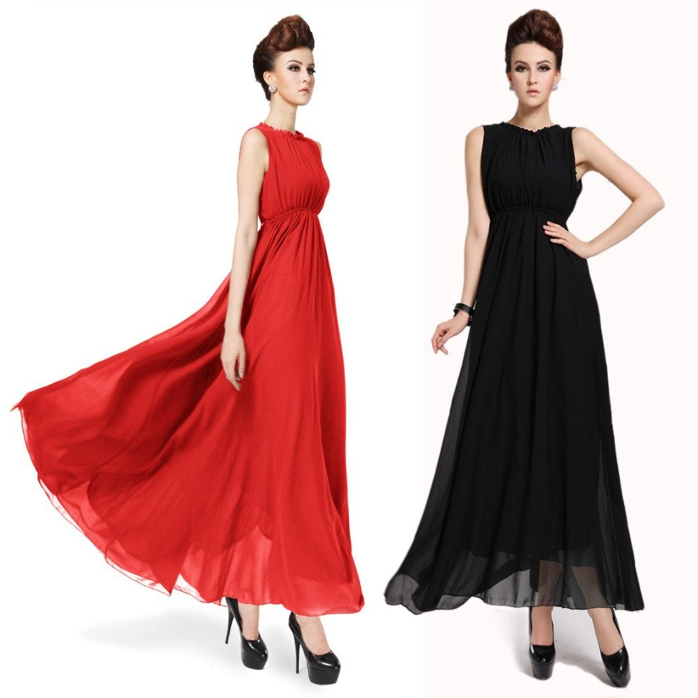 Ladies Gowns: Elegant Chiffon Maxi Summer Dress