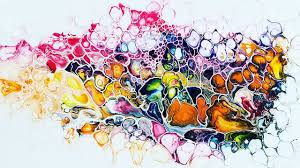 paint pour rainbow colours