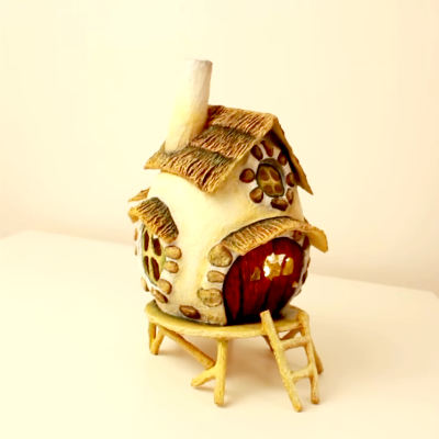 paper clay fairy house
