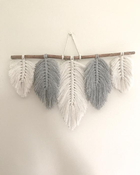 grey macrame feather wall hanging